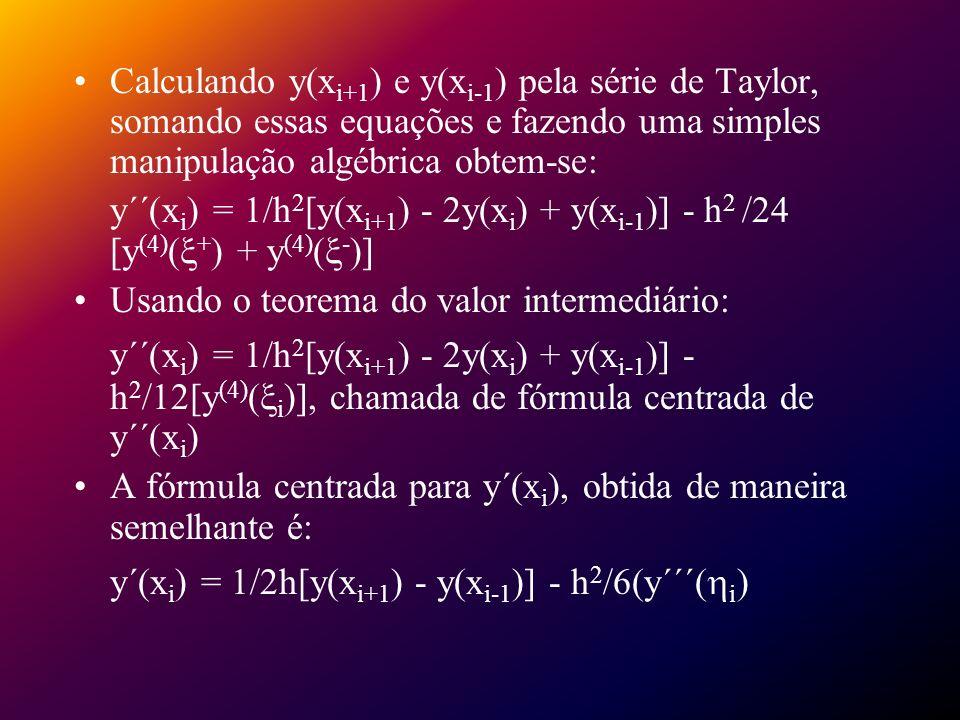 y´(xi) = 1/2h[y(xi+1) - y(xi-1)] - h2/6(y´´´(i)